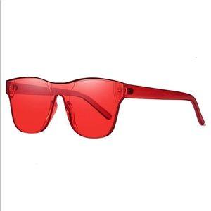Rimless Wayfarer Sunglasses Retro Red Classic NEW